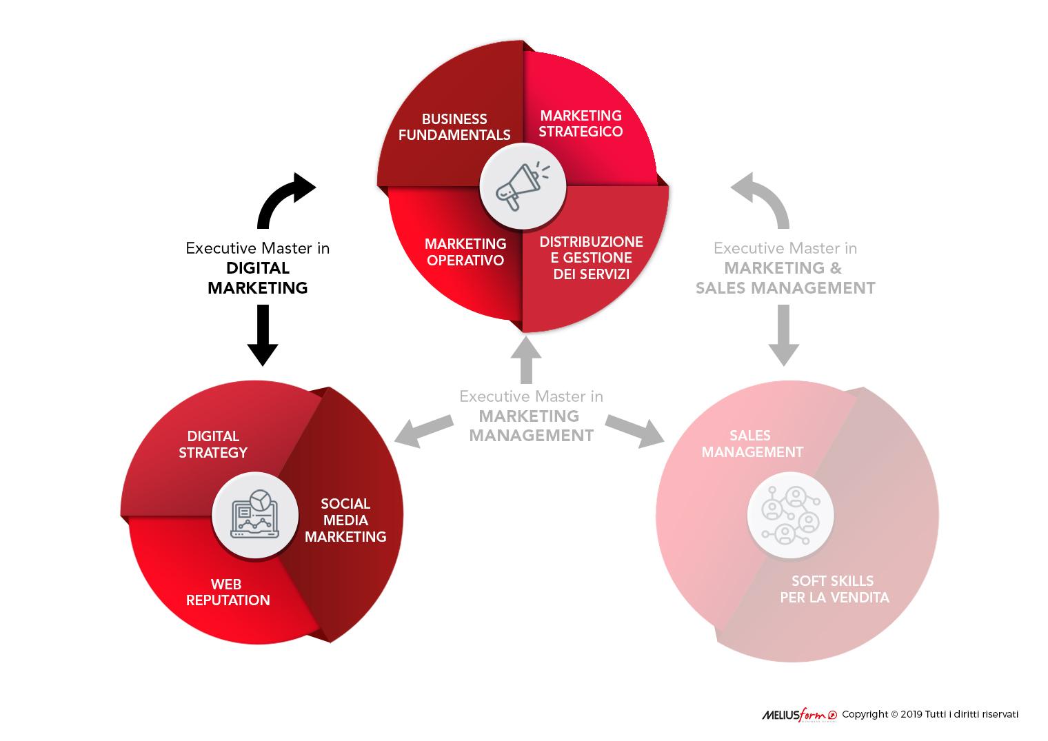 Immagine descrittiva della struttura del Master in Digital Marketing e Web Marketing MELIUSform